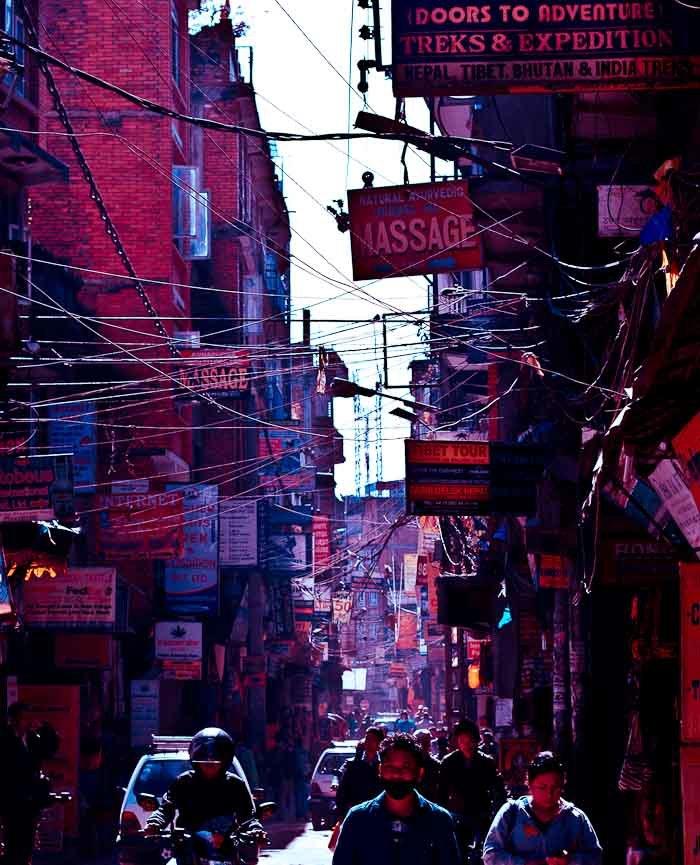 Signs choke the streets of Thamel, Kathmandu.