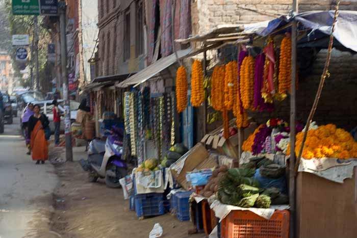 Offering stalls in Kathmandu suburbs