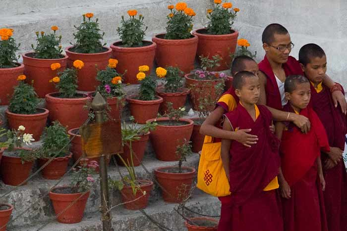 Tibetan monk and novices pose for pictures on Bodhnath stupa, Kathmandu.