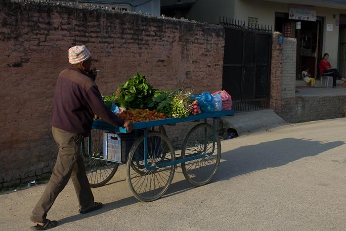 Man pushing vegetable cart in suburbs of Kathmandu.