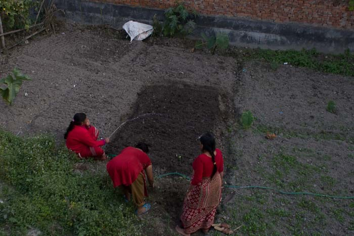 Women working their gardens, Kathmandu, Nepal.
