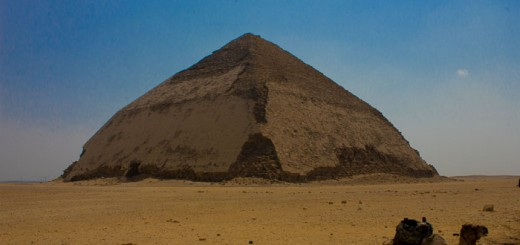 Camel and sand in front of the bent pyramid at Dahshur.