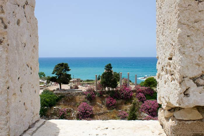 View from crusader fort over Roman ruins in Byblos, Lebanon.