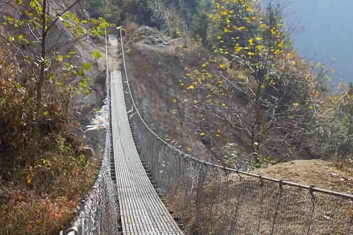 Mildly scary suspension bridge en route to Everest Base Camp.