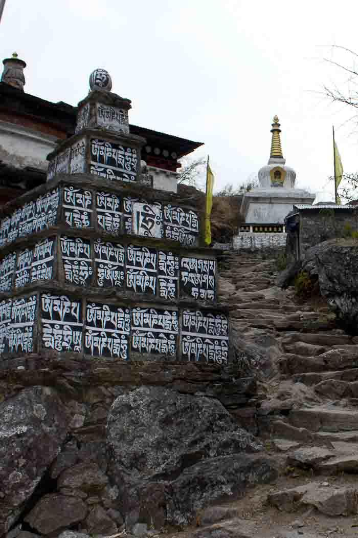 Painted mani stones and chorten (stupa) en route to Phakding, Everest Base Camp day 1.