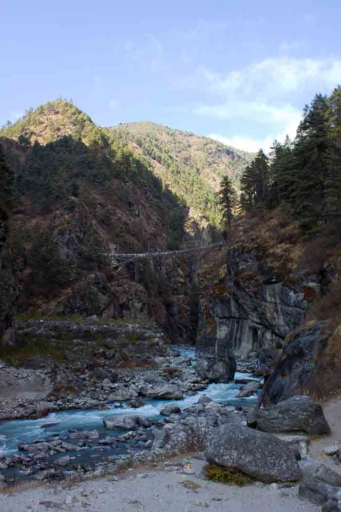 Everest Base Camp Day 2 - the Larja suspension bridge.