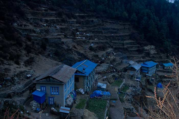 Everest Base Camp Day 2 - houses, lodges and terraced fields in Namche Bazar.