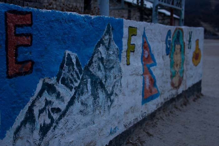 Everest Base Camp trek: Sherpa English alphabet at Hillary school in Khunde.