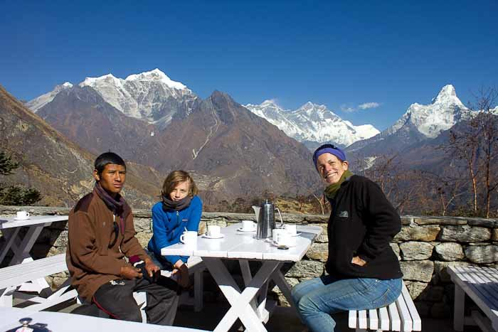 Everest Base Camp trek: I, Zac and Nir on the terrace of Hotel Everest View.