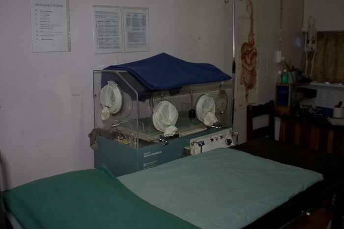 Everest Base Camp trek: delivery room and incubator at Khunde hospital.