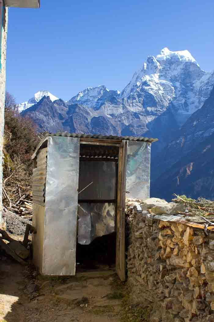 Everest Base Camp: a loo with a view in Mong-La.