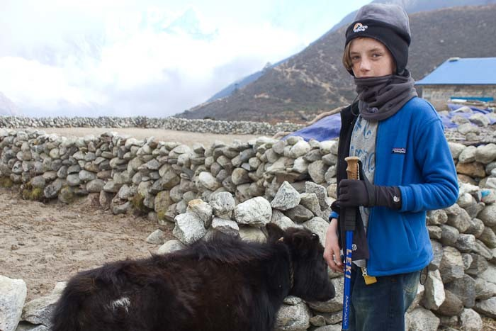 Everest Base Camp with kids: Zac with baby chong-ri in Thame.