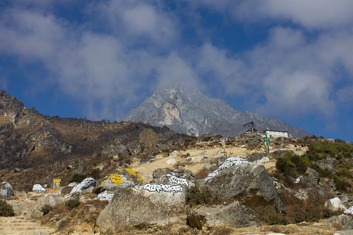 Everest Base Camp: mani stones by Namche monastery, en route to Thame.