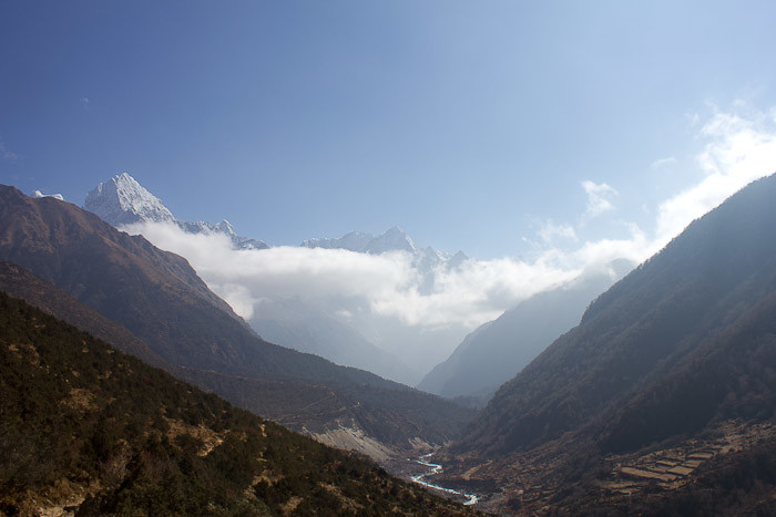 Everest Base Camp: view down valley towards Thame.