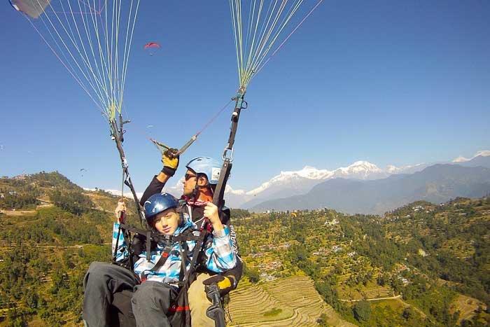 Zac paragliding over Pokhara, Nepal.