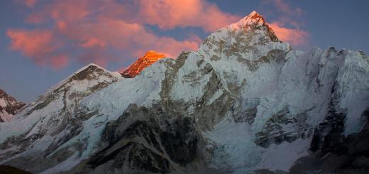 Everest Base Camp: Everest and Nuptse seen from Kala Patthar.