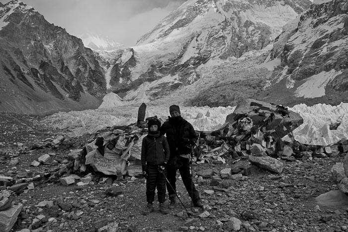 Everest Base Camp: me and Zac in front of the Khumbu Icefall.