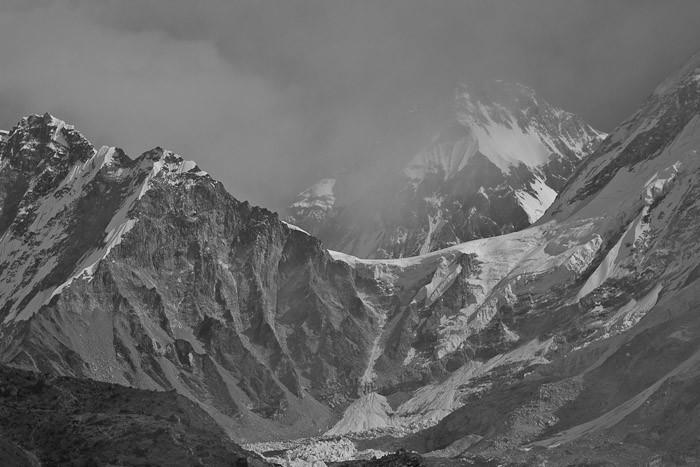 View from Gorak Shep towards Everest Base Camp.