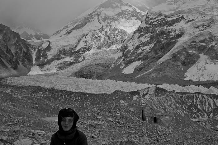 Everest Base Camp: Zac in front of the Khumbu icefall.