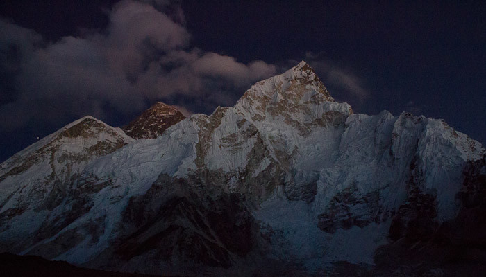Everest Base Camp trek - Nuptse and Everest, seen from Kala Patthar.