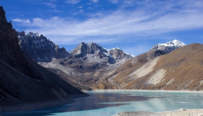 Ice and water in the glacier lakes at Gokyo, Nepal.
