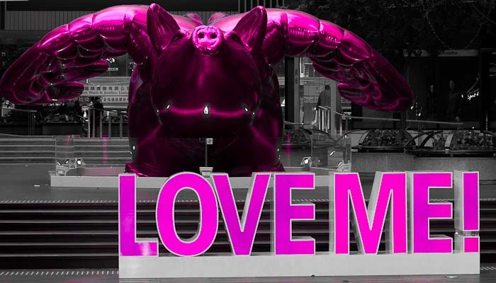 PInk flying pig with Love Me written underneath it.