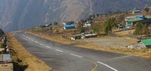 The runway at Lukla airport, dropping off the edge of the valley.