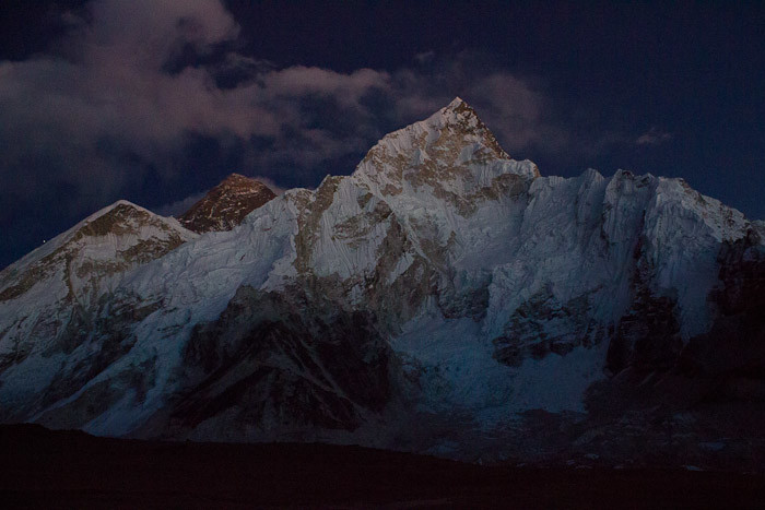 Everest Base Camp trek: Nuptse in the twilight.