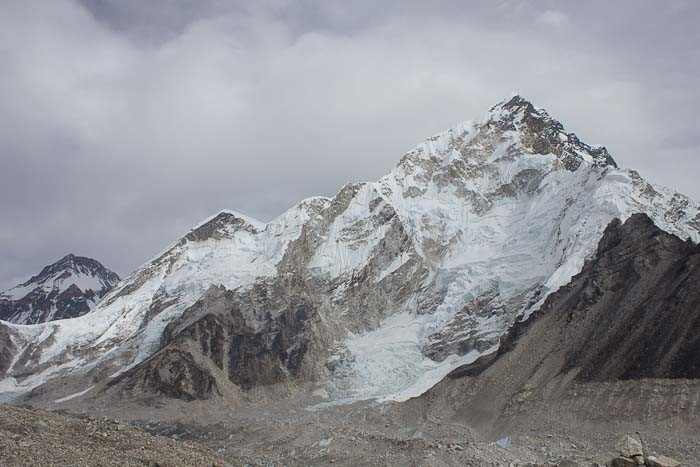 Nuptse appearing over the Khumbu moraine.