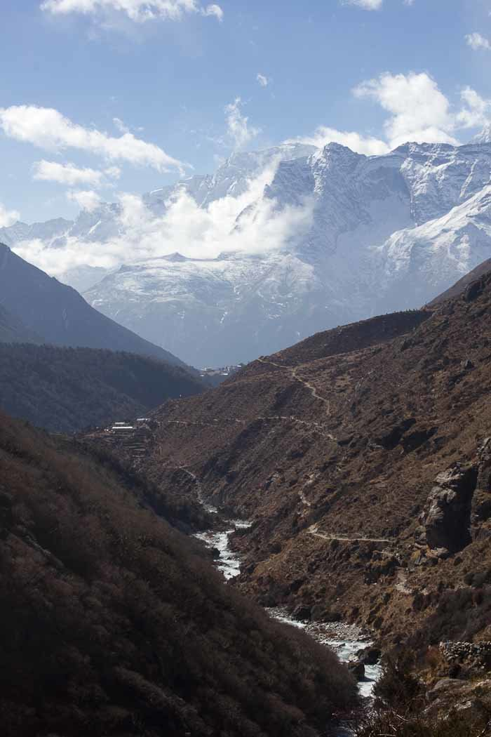 Everest Base Camp trek: Kong De and the valley, with Tengboche monastery on its ridge.