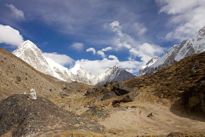 Everest Base Camp trek: view up the Khumbu Valley.