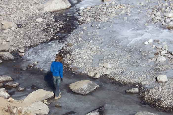 Everest Base Camp trek: crossing a frozen river near Lobuche.