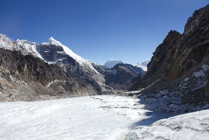Cho-La pass: glacier.