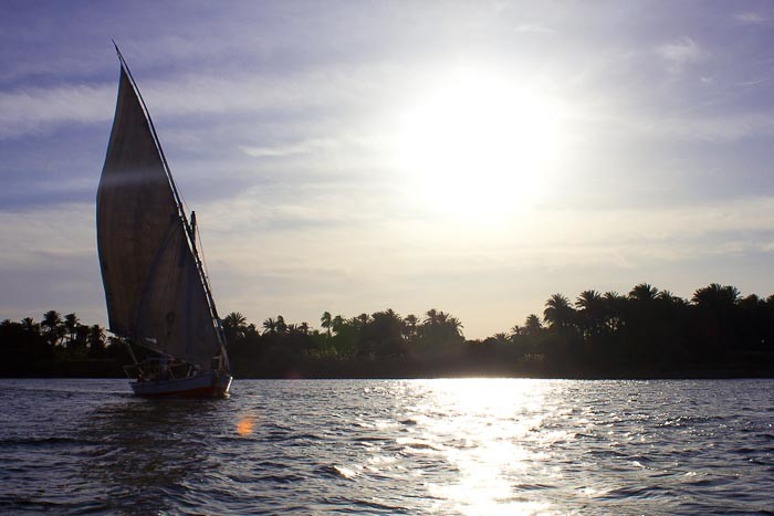 Things for kids to do in Egypt: felucca on the Nile.