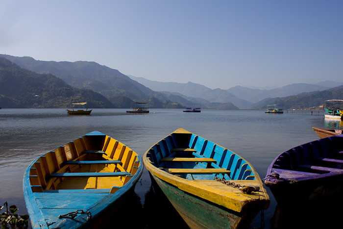 Pictures of Nepal: brightly coloured boats on Lake Phewa, Pokhara.