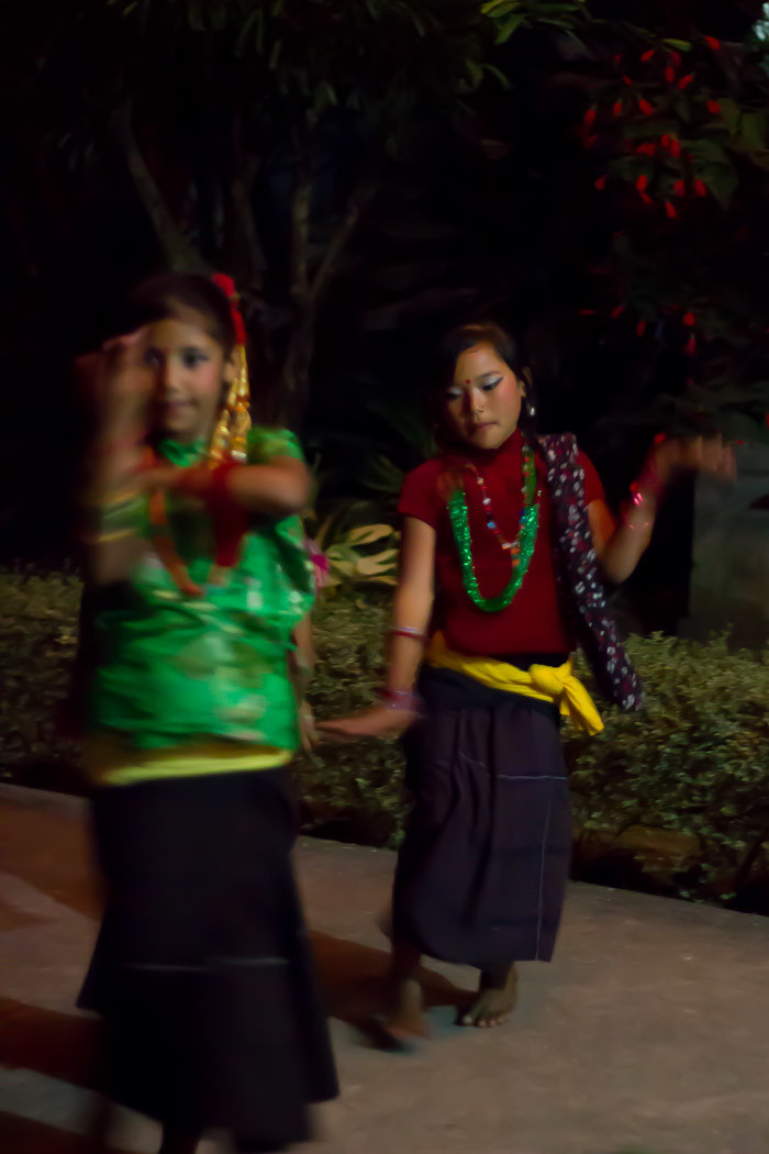 Pictures of Nepal: little girls dancing for Deepawali.