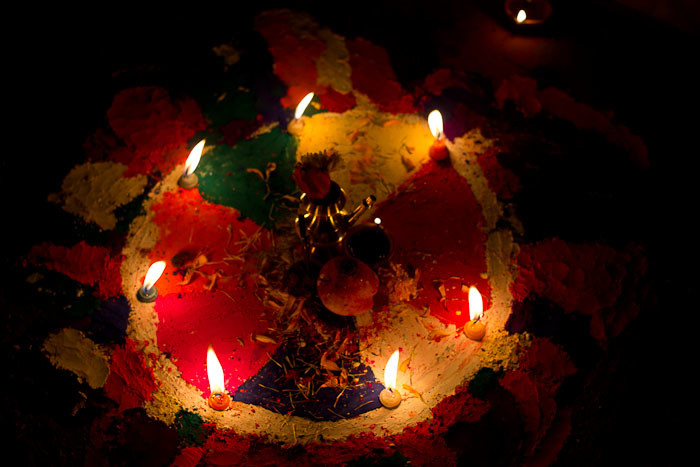 Pictures of Nepal: puja (offering) for Deepawali.