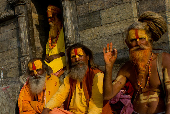 Pictures of Nepal: sadhus by the Shiva shrines at Pashupatinath.