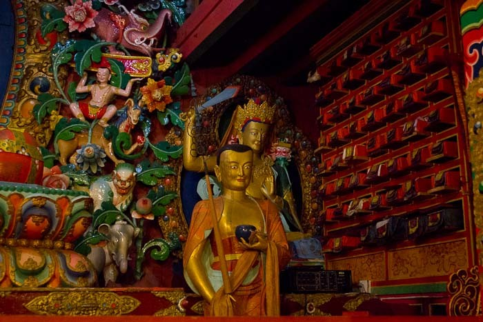 Pictures of Nepal: interior of monastery at Tengboche.