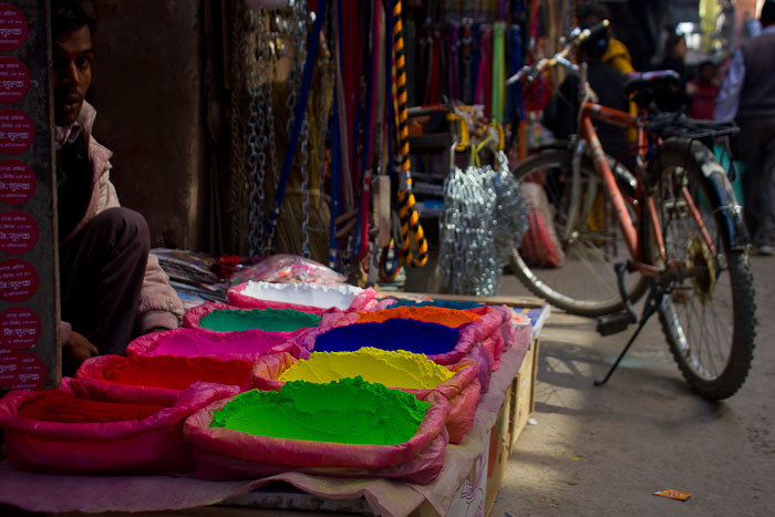 Pictures of Nepal: Vendor of coloured dyes in Kathmandu.