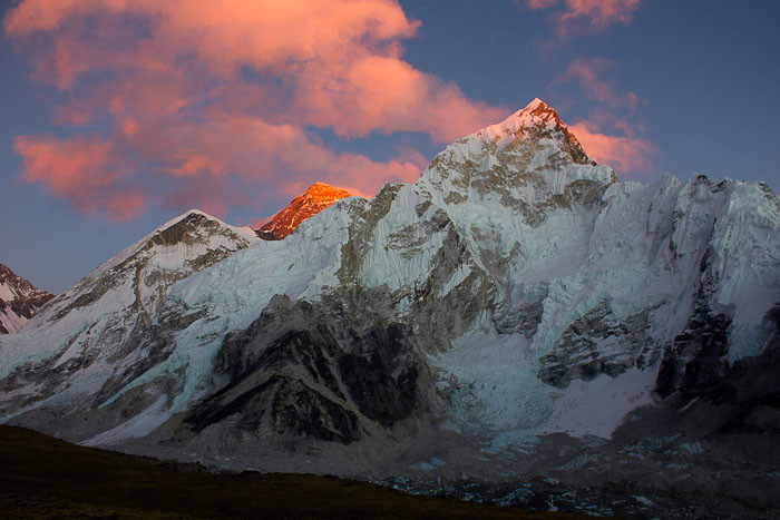 Pictures of Nepal: alpenglow illuminates Everest behind Nuptse.