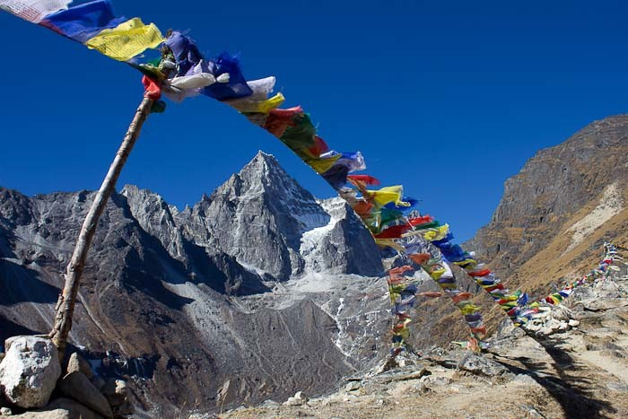 Pictures of Nepal: prayer flags en route to Machermo Ri.