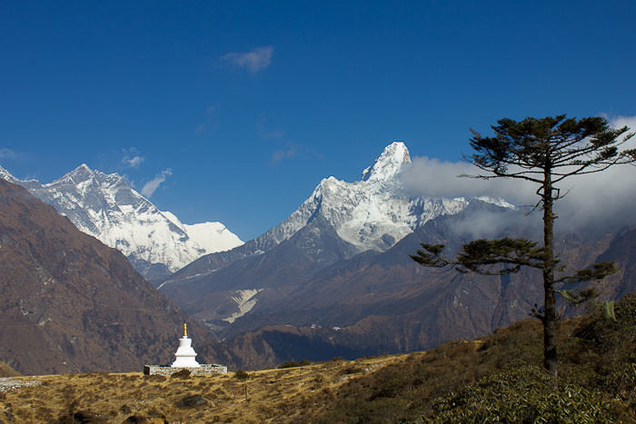 Pictures of Nepal: Ama Dablam with chorten and juniper.