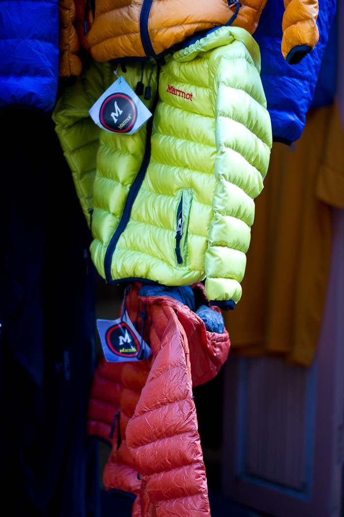 Pictures of Nepal: Down jackets for babies hanging up in Namche Bazar.