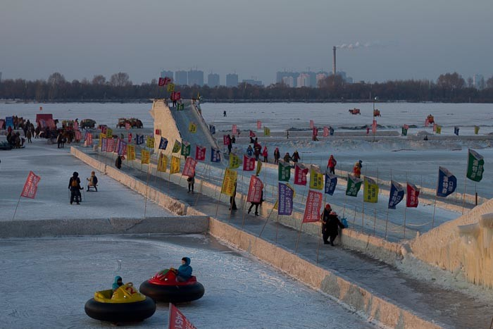 "Ice ""hovercraft"" on the Songhua River, Harbin."