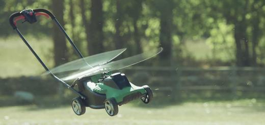 Flying lawnmower from Avios ad.