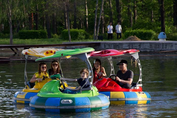 Bumper boats at Harbin botanical gardens.