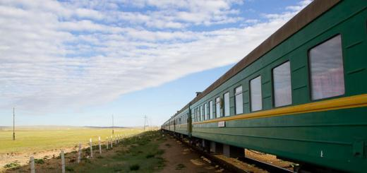 Mongolian train en route from Zamyn Uud to Ulaanbaatar.
