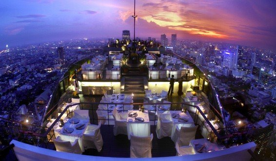 View over Moon Bar and Vertigo at Banyan Tree, Bangkok.