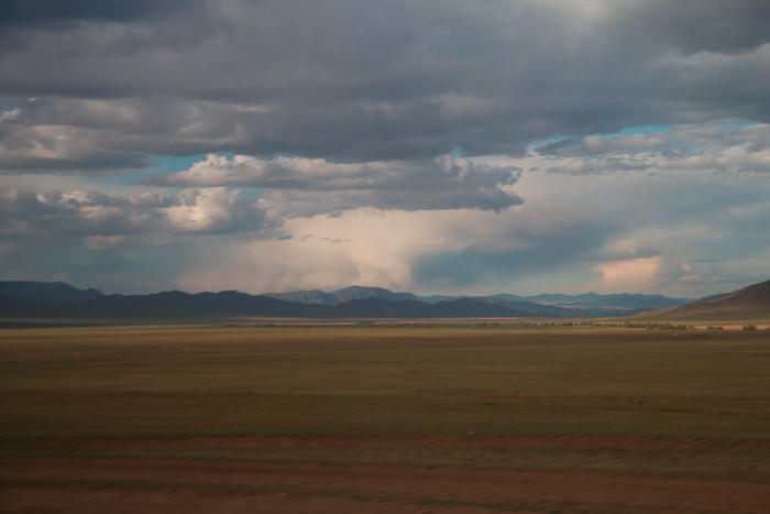 Big skies over the Mongolian plains.